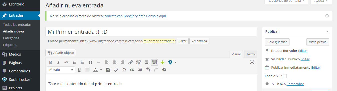Mi primer post en wordpress